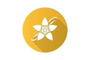 Vanilla flower flat design long shadow glyph icon
