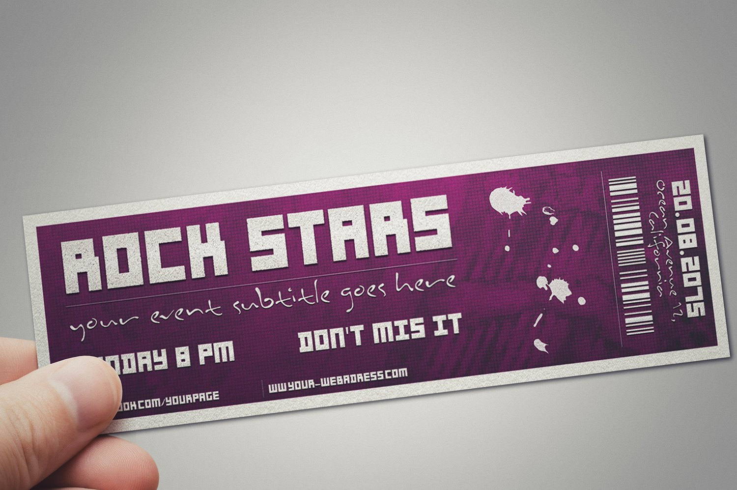 Multipurpose Event Ticket Card Templates Creative Market - Event ticket template photoshop