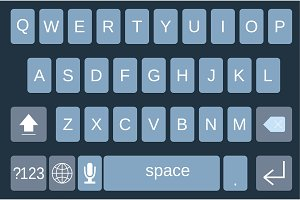 Smartphone keyboard, alphabet buttons