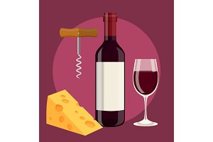 bottle, glass of wine cheese and Corkscrew