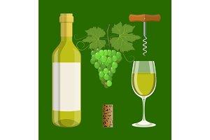 Bottle, glass, cork, corkscrew
