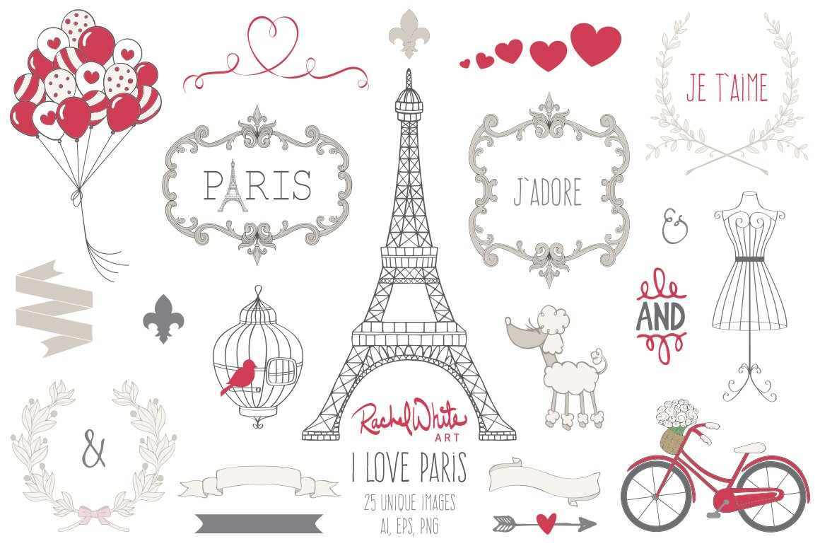 I Love Paris Wallpaper cartoon : I Love Paris, Vector ~ Illustrations ~ creative Market