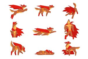 Dog superhero character set, dog in different poses with red cape vector Illustrations