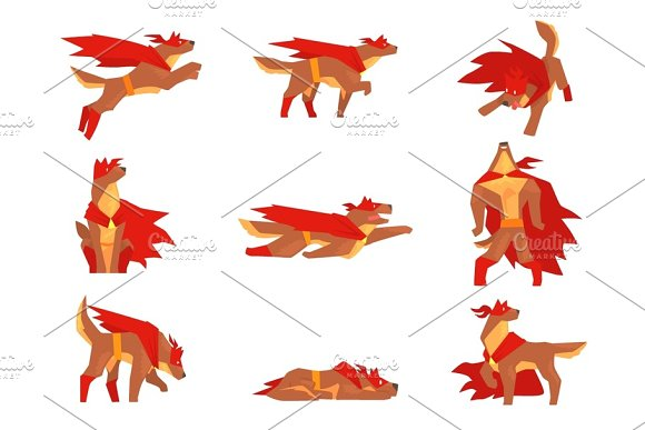 Dog Superhero Character Set Dog In Different Poses With Red Cape Vector Illustrations