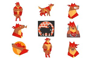 Dog superhero character in action set, dog in different poses with red cape vector Illustrations