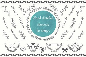 Floral hand drawn design elements
