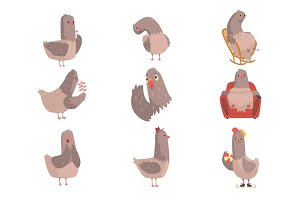 Cute cartoon bird set, funny bird character with different actions and emotions vector Illustrations