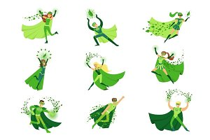 ECO superhero characters in action set, young men and women in green capes vector Illustrations