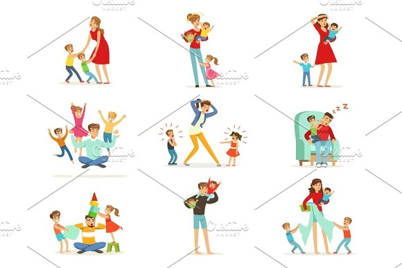 Tired Parents And Their Children Set Parenting Stress Vector Illustration