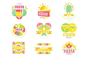 Fiesta logo original design set, labels for a holiday colorful vector Illustrations