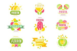 Fiesta logo set, labels for a holiday colorful vector Illustrations