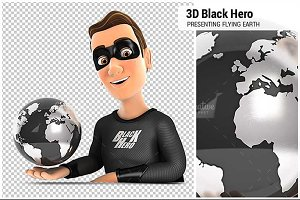 3D Black Hero Presenting Earth
