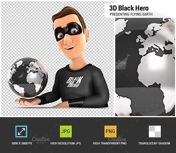 3D Black Hero Presenting Earth