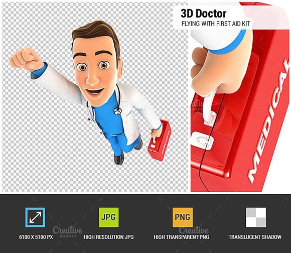3D Doctor Flying With First Aid Kit