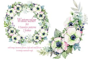 Watercolor kit with Anemones flowers