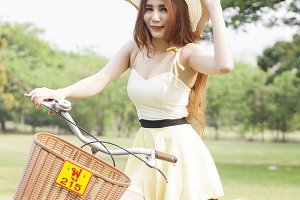 Woman are bicycling