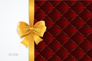 Gift Card Template, Bow And Quilted