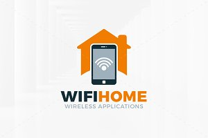 Wifi Home Logo Template
