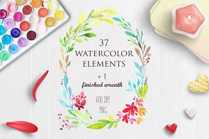 Watercolor Floral Wreath Clipart PNG