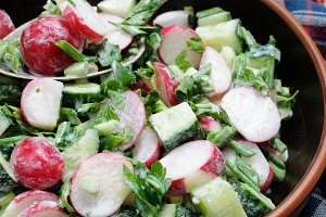 Salad from radish and cucumber
