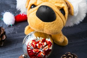 Christmas decoration with toy dog