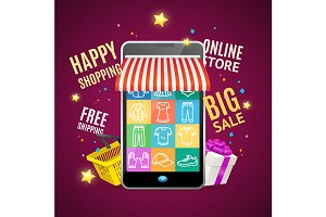 Phone Shopping Online Sale Concept