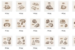 Set of 50 hand drawn cheese vectors
