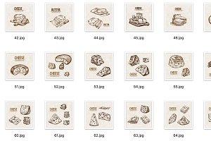 Set of 50 hand drawn cheese vectors