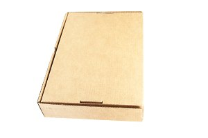 Brown paper box on white background.