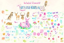 Watercolor Animal and Flowers Bundle