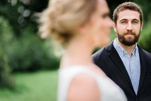 Green-eyed groom with beard