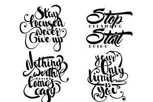 Set Of Decorative Monochrome Quotes