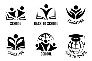 Set of black and white school logos