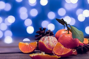 holidays tangerines with bokeh