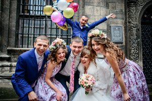 Cheerful bridesmaids and groomsmen