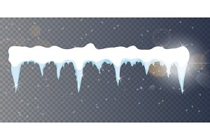 Set of cartoon snow design element on transparent background Snow icicles, snow cap isolated. Snowy elements on winter background. Vector template