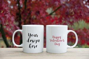 Two coffee mug mock up psd, 2 mugs