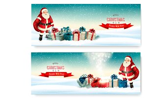 Two Holiday Christmas banners with a