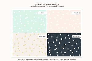 Random Polka Dot Seamless Patterns