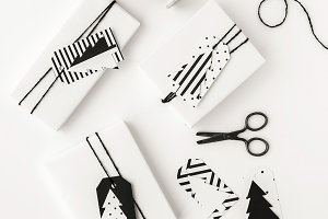 Modern gifts with spruce gift tags