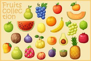 Cartoon vector fruits illustration