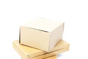 three brown boxs on white isolated b