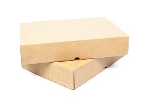two brown boxs on white isolated bac