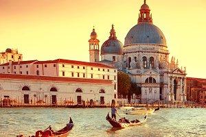 Gondoliers on gondola in Venice