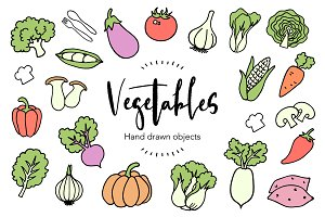 Hand drawn vegetable elements