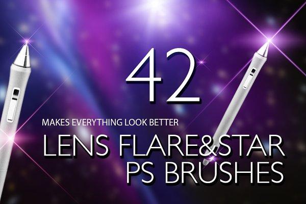 Lens Flare & Stars Photoshop Brushe…