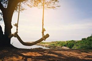 wooden swing  on beautiful sea