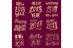 2018 happy New Year gold text logo for holiday calendar print golden design or Christmass newborn yearly party illustration