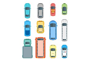 Cars Top View Set. Vector
