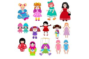 Vector doll toy cute girl female set illustration childhood baby dress face child beautiful dollhouse children baby toyhouse cartoon isolated on white background